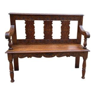 Antique English Oak Bench For Sale