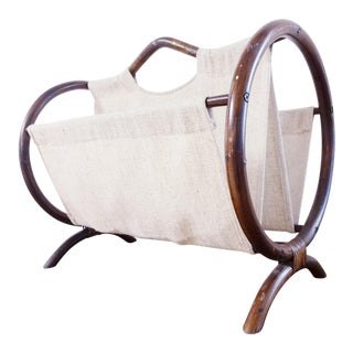 Vintage Bohemian Rattan Magazine Rack For Sale