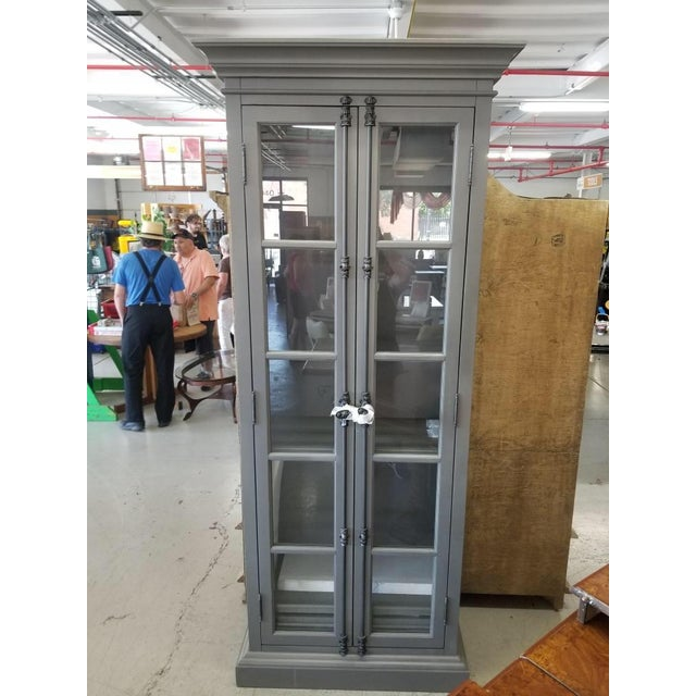 Gray French Restoration Hardware Casement Narrow Double Glass Door Cabinet in Distressed Grey For Sale - Image 8 of 8
