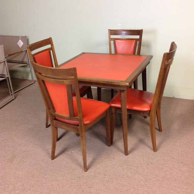 Stakmore Wood Game Table & Chairs For Sale - Image 9 of 9