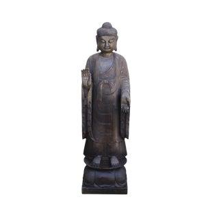 Chinese Dark Gray Stone Carved Standing Abhaya Mudra Buddha Statue