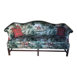 1980s Vintage English Style Tartan and Fox Hunt Sofa For Sale