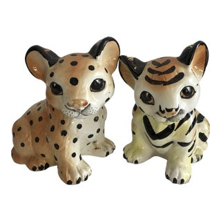 Vintage Baby Tiger and Cheetah Figurines - a Pair For Sale
