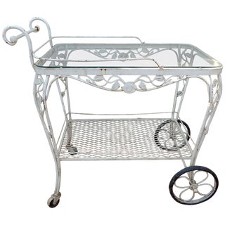 Vintage Bar or Tea Cart Woodard Chantilly Rose Pattern For Sale