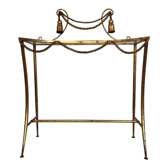 Vintage Italian Gold Metal Faux Rope Tassel Hollywood Regency Vanity Console Table For Sale