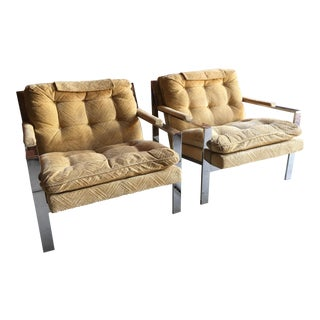 "Bernhardt ""Flair"" Cy Mann / Milo Baughman Style Club Chairs - a Pair For Sale"
