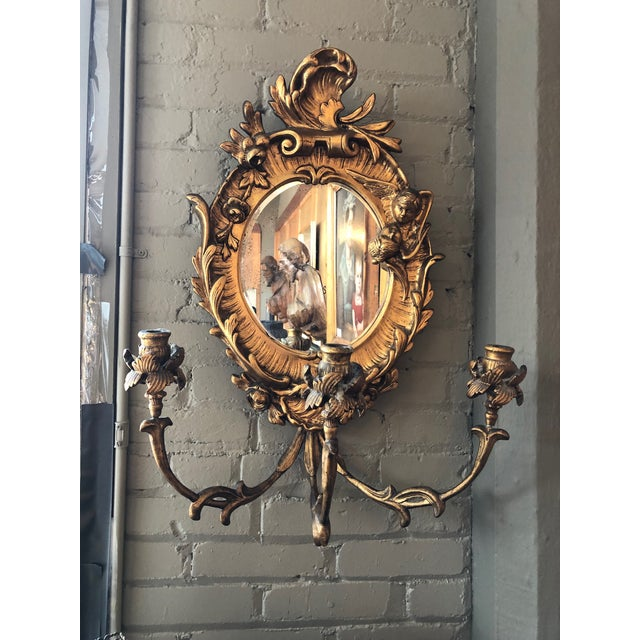 Turn of the Century Italian Baroque Style Girandole 3 Light Wall Mirror For Sale - Image 10 of 10