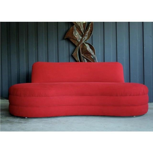 1980s Vladimir Kagan Style Red Sofa For Sale - Image 5 of 5