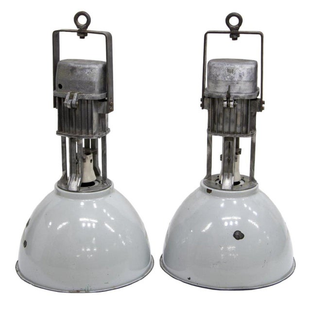 Modern 1960s Vintage Industrial Enameled Dome Hanging Lamps- A Pair For Sale - Image 3 of 3