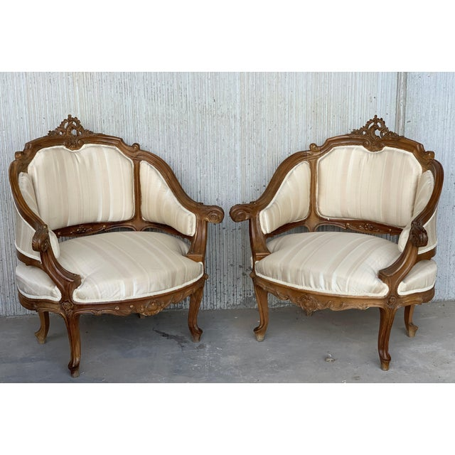 About Pair of Italian Rococó Fauteuils or Slipper Chairs Details IN THE STYLE OF Louis XV PLACE OF ORIGIN France DATE OF...