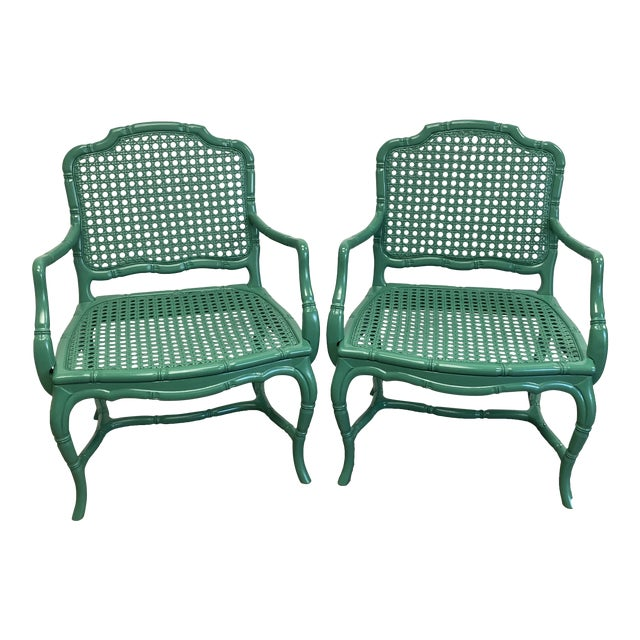 Vintage Green Lacquered Cane Chairs - a Pair For Sale