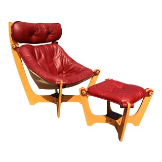 Mid Century Red Leather Luna Chair by Odd Knutsen for IMG Norway