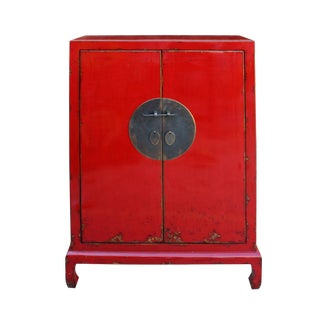 Chinese Distressed Bright Red Moon Face Storage Cabinet