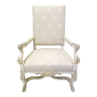 Pair of 19th Century French Louis XV Carved Painted Armchairs With Fleur-De-Lys Fabric For Sale