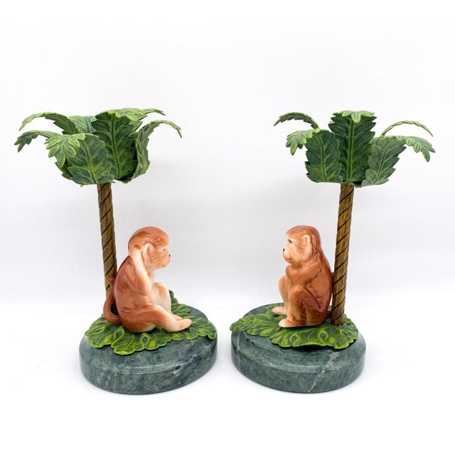 Late 20th Century 20th Century Hollywood Regency Monkey Palm Tree Tole, Ceramic and Marble Candlesticks- a Pair For Sale - Image 5 of 10