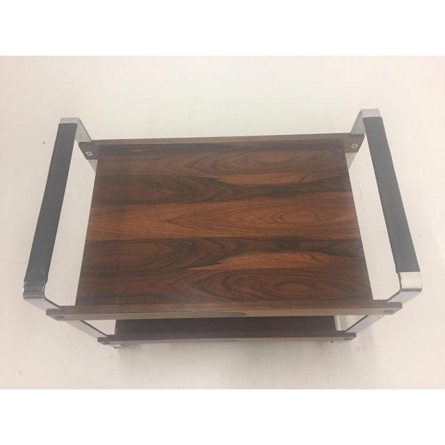 Mid Century Modern Rosewood and Chrome Bar Cart For Sale - Image 9 of 11