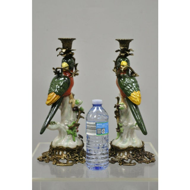 French Green & Yellow Parrot Candlestick Candle Holders-a Pair For Sale - Image 10 of 11