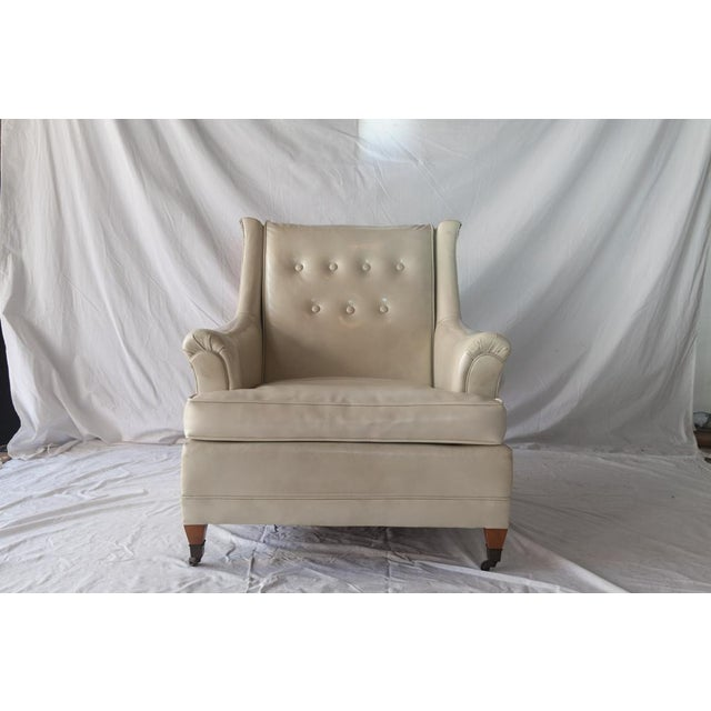 Cream Vintage Tufted Club Chair with Casters For Sale - Image 8 of 8
