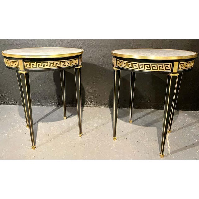 Jansen Style Bouliotte / End Tables Bronze Mounted - a Pair For Sale - Image 9 of 13