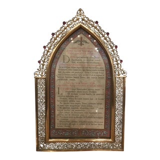 Polished Brass Picture Frame with Decorative Trim Around, 19th Century For Sale
