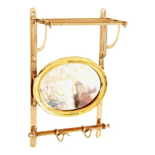 Vintage Solid Brass Coat Rack Entry Valet & Wall Mounted Mirror For Sale