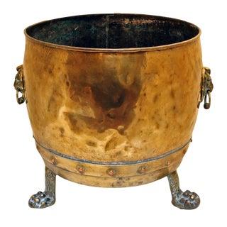 19th Century Antique English Brass Jardinere For Sale