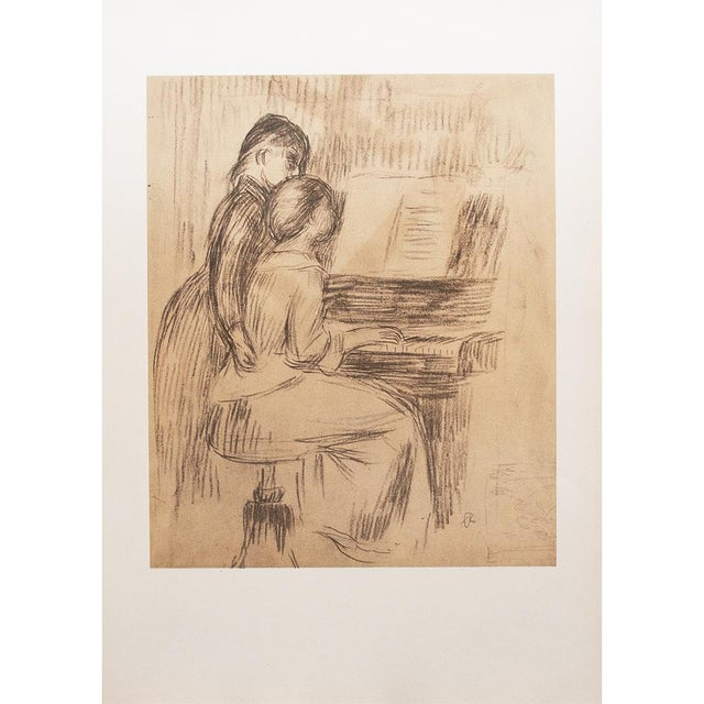 Large and excellent vintage lithograph of chalk drawing The Music Lesson (1891), Sketch for the painting formerly in the...
