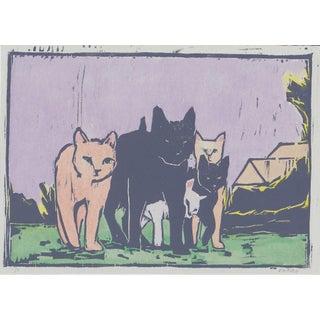 Michelle Farro Alley Cats Woodblock Print For Sale