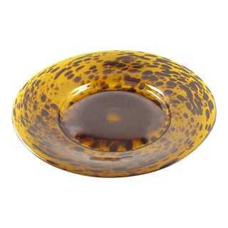 Empoli 1960s Tortoiseshell Glass Centerpiece Bowl Platter For Sale