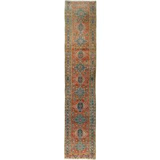 "Vintage Persian Heriz Hand Woven Runner 3' X 16'3"" For Sale"