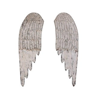 Wooden Wings Wall Decor - 2 Piece Set For Sale