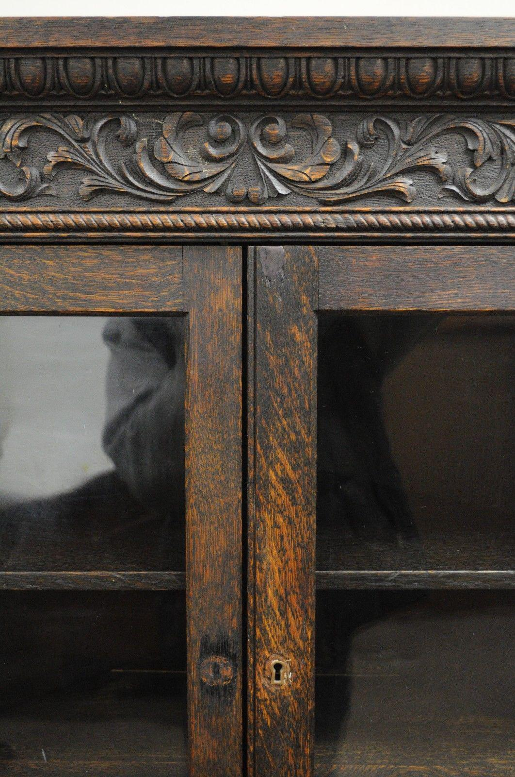 Oak Antique Corner China Cabinet Cupboard Renaissance Revival Belgian  Carved Oak For Sale   Image 7