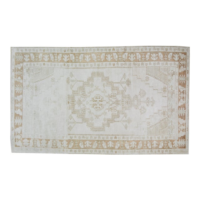 """Vintage Turkish Anatolian Oushak Hand Knotted Organic Wool Fine Weave Rug,4'6""""x8'3"""" For Sale"""