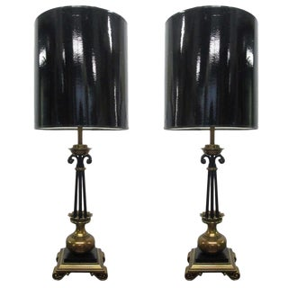 Pair Neoclassical French Bronze & Wrought Iron Lamps For Sale