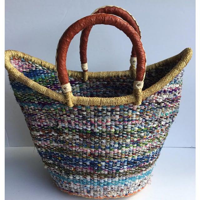 Large African Bolga Ghana Woven Basket For Sale - Image 5 of 5