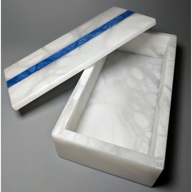 Stone Hermes Inspired Alabaster Box With Navy Blue Stripe For Sale - Image 7 of 13