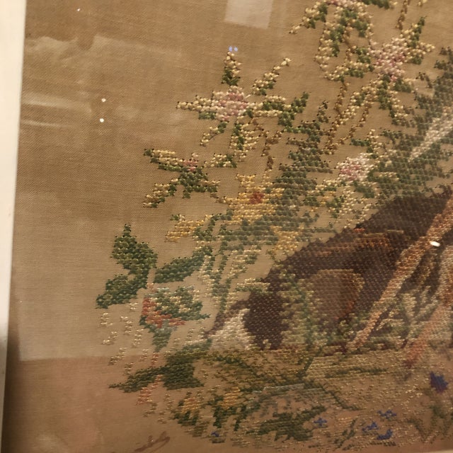 Glass Vintage Deer With Fawn Cross Stitch Framed Textile Art For Sale - Image 7 of 12