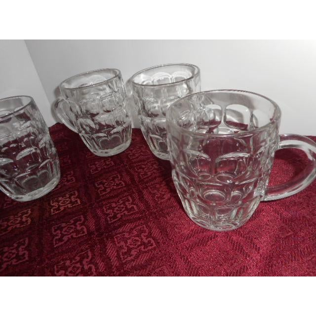 Beer Mugs Thumbprint Glasses - Set of 4 For Sale - Image 4 of 5