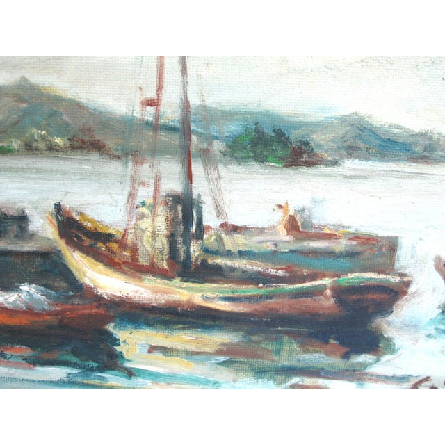 Impressionism 1960s Vintage Ottone Griselli Boats at Anchor Italian Maritime Scene Oil Painting For Sale - Image 3 of 7