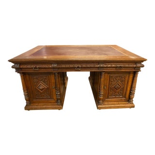 Antique Henry II Quarter Sawn Partners Leather Desk For Sale