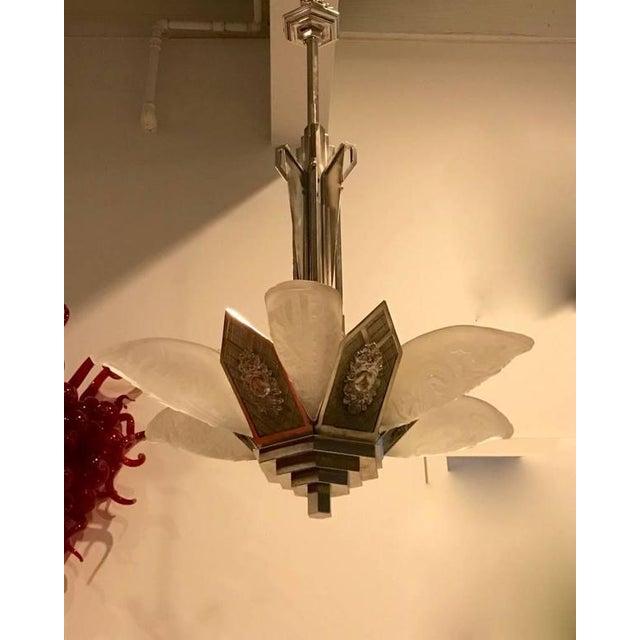 """German Art Deco Chandelier with """"Skyscraper"""" Motif - Image 2 of 10"""