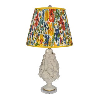 Italain Blanc De Chine Fruit Basket Lamp on Lucite With Shade For Sale