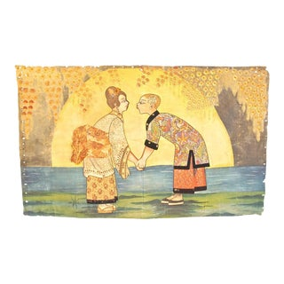 Asian Tapestry of Lovers by the Sea