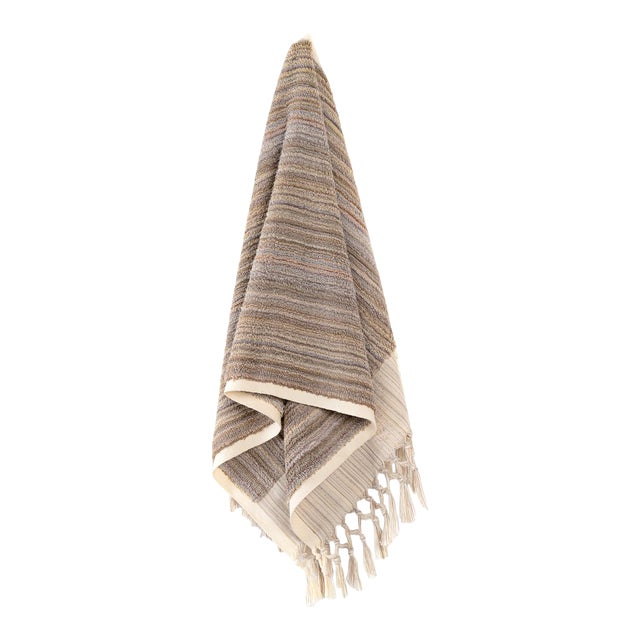 Earth Lines Handmade Organic Cotton Hand Towel in Tan For Sale