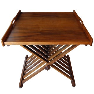 Campaign Tray Table by Stewart McDougall for Drexel in Walnut For Sale