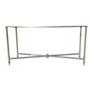 1970s Hollywood Regency Brass and Steel Console Table For Sale