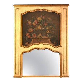French Antique Painted And Parcel Gilt Trumeau or Over The Mantel Wall Mirror