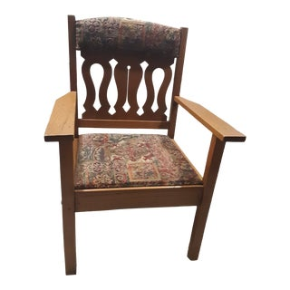 "Antique 19th Century ""Pastor"" Tapestry Upholstered Oak Chair For Sale"