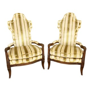 Mid-Century Hollywwod Regency Highback Armchairs - A Pair