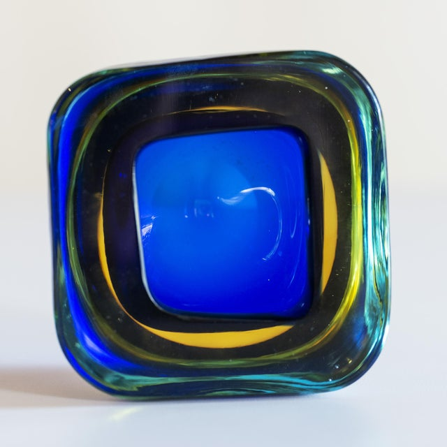 Murano Glass Sommerso Square Bowl in Blue and Yellow, 1960s For Sale In Santa Fe - Image 6 of 8